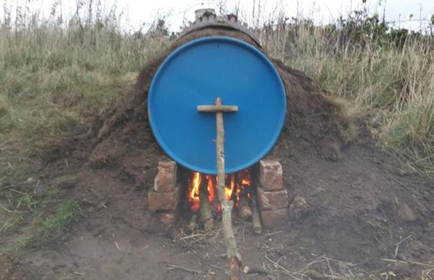 Oil Drum Fire that the Explorers built